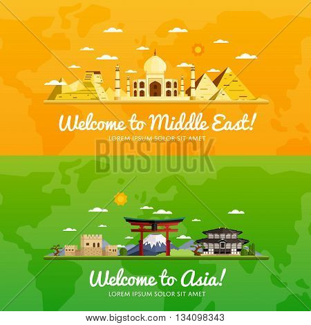 Welcome to Middle East and Asia travel flat vector illustration. Journey around the world. World traveling concept. Middle East travel and Asia travel banners. Worldwide discover. Travel concept.  World travel background. Travel asia banners. Time to trav