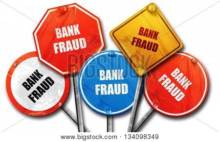 Bank fraud background, 3D rendering, rough street sign collectio
