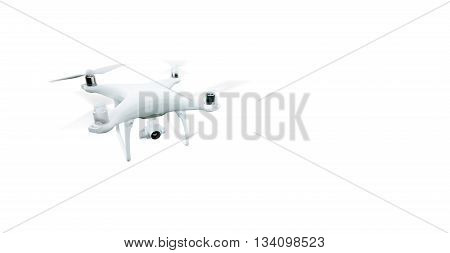 Photo Matte Generic Design Modern Remote Control Air Drone Flying with action camera. Isolated on Empty White Background. Horizontal , front angle view. 3D rendering