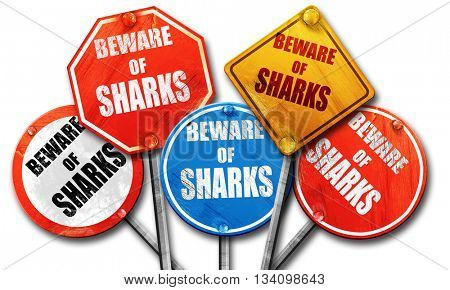 Beware of sharks sign, 3D rendering, rough street sign collectio