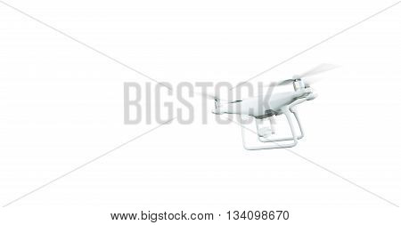 Photo Matte Generic Design Modern Remote Control Air Drone Flying with action camera. Isolated on Blank White Background. Horizontal, back angle view. 3D rendering