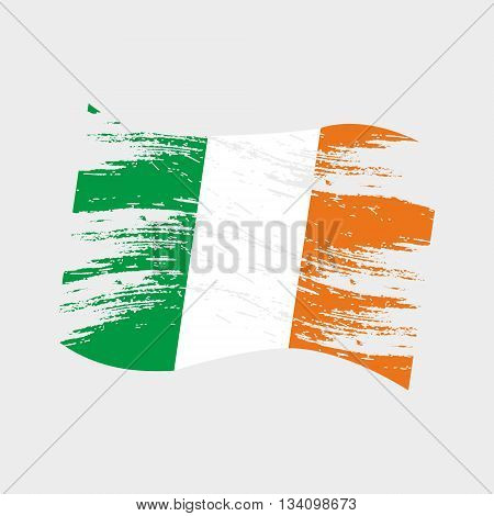 Color Ireland National Flag Grunge Style Eps10