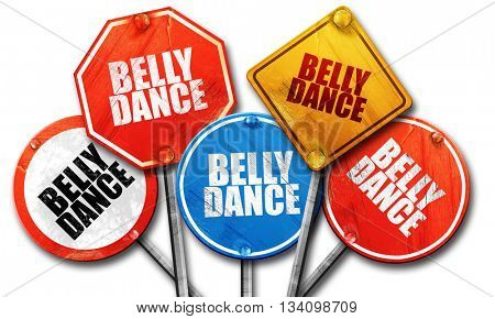 belly dance, 3D rendering, rough street sign collection