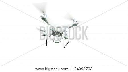 Photo Matte Generic Design Modern Remote Control Air Drone Flying with action camera. Isolated on Empty White Background. Horizontal. 3D rendering