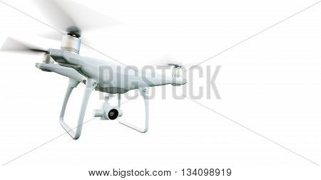 Image Matte Generic Design Modern Remote Control Air Drone Flying with action camera. Isolated on Empty White Background. Horizontal . 3D rendering