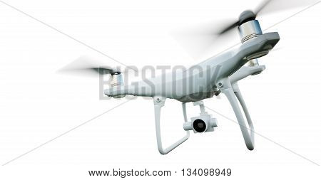 Photo Matte Generic Design Modern Remote Control Air Drone Flying with action camera. Isolated on Empty White Background. Horizontal closeup. 3D rendering