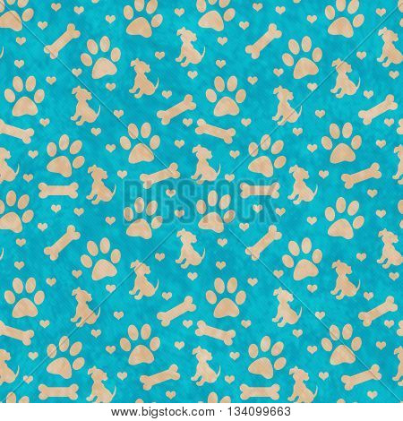 Teal and Beige Dog Paw Prints Puppy Bone and Hearts Tile Pattern Repeat Background that is seamless and repeats, 3D Illustration