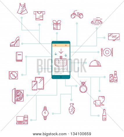 Icons for modern shopping via the Internet and smart phones