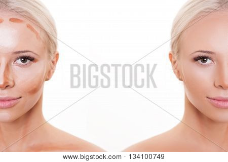 Divided woman face before and after blending Contour and Highlight makeup. Professional Contouring face make-up applying sample. Comparison portrait of two parts of model girl face
