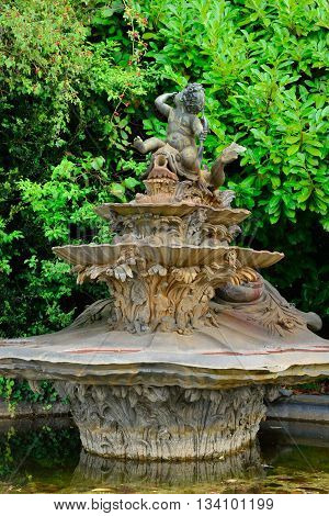 Versailles France - august 19 2015 : the Marie Antoinette estate in the parc of Versailles Palace. garden of Petit Trianon