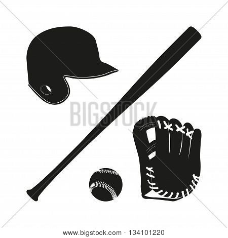 Items for baseball : the ball glove bat helmet. A collection of baseball equipment silhouette