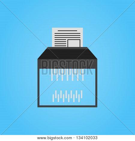 Paper shredder vector icon on blue background