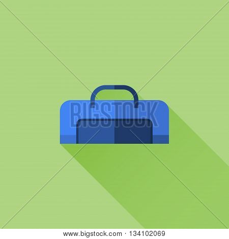 Travel handle bag flat icon with long shadow on green background. Vector illustration.