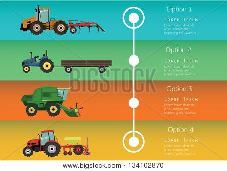 Set of the traktors and harvesters. Agricultural illustration in flat design style vector.