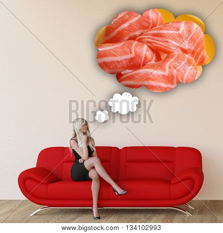 Woman Craving Sushi and Thinking About Eating Food 3D Illustration Render