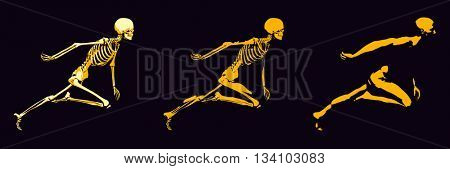 Transparent Human with Bone Structure in Movement 3D Illustration Render