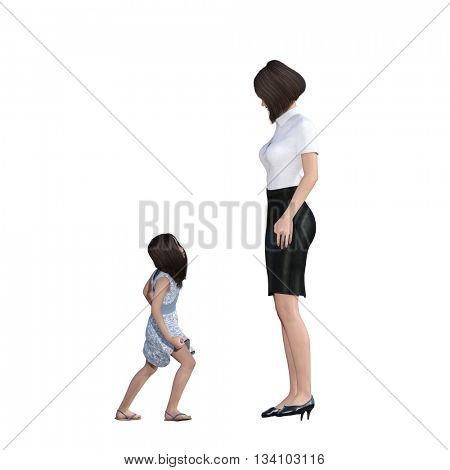 Mother Daughter Interaction of Rebellious Child as an Illustration Concept 3D Illustration Render