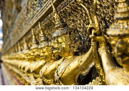 The Statues Of Krut Battling Naga Serpent, A Thai Buddhist Adaptation Of Garuda In Wat Phra Kaeo Tem
