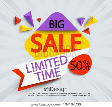 Big sale - limited time banner. Sale and discounts. Vector illustration.