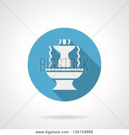 White silhouette of fountain with long shadow design. Stone shaped bowls with abstract water flows. Decoration for gardens, parks and other places. Round blue flat style vector icon.