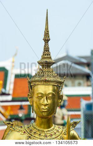 Golden kinnara statue in Grand palace Bangkok,Thailand