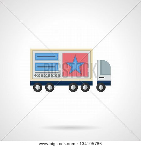 A side view of cargo truck with advertise posters on a trailer. Outdoor advertising elements and objects. Mobile or movable promotion ads. Flat color style vector icon.