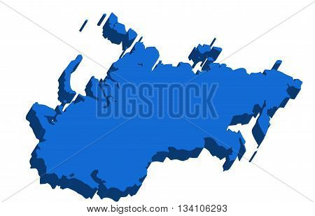 A map of USSR 3D on white background