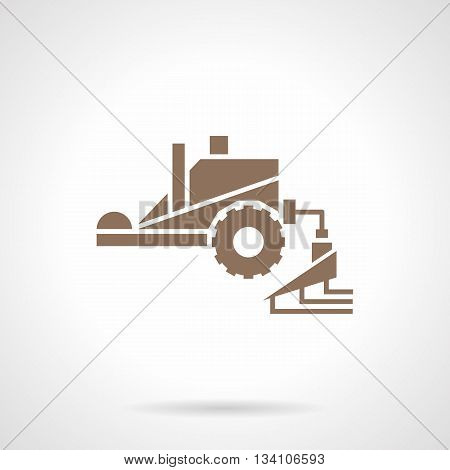 Machinery for crop improvement. Tractor spraying agricultural chemicals pesticide. Farming equipment. Symbolic brown glyph style vector icon.