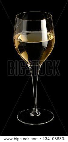 wine glass partly filled with white wine in black back