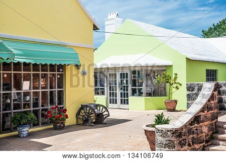 ST.GEORGE BERMUDA MAY 27 - Colorful style architecture and white roof shops of St. George are typical of the island on May 27 2016 in Bermuda.