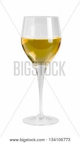 wine glass partly filled with white wine in white back