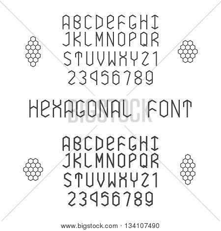 Hexagonal Vector Font With Numerals In Normal And Bold Style