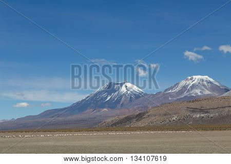 Photograph of the highest mountain in Bolivia Mount Sajama.