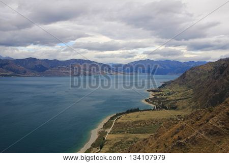Lake in Central Otago New Zealand. Lake Hawea view from the Breast Hill track.