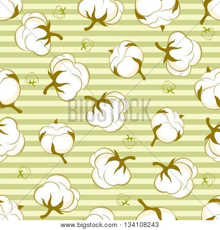 seamless pattern with cotton plant on green striped background