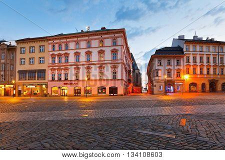 OLOMOUC, CZECH REPUBLIC - JUNE 05, 2016: Main square in the old town of Olomouc, Czech Republic on June 05, 2016.
