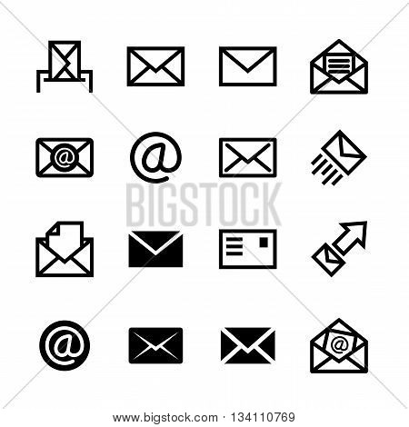 Mail icons, set of 16 e-mail symbols, ideal for website design, vector illustration graphic