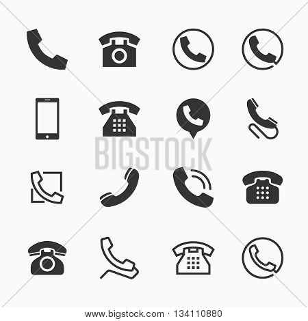 Phone icons, set of 16 telephone symbols, ideal for website design, vector illustration graphic