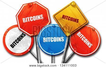 bitcoins, 3D rendering, rough street sign collection