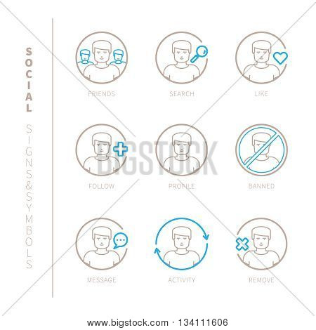 Set Of Vector Social Network Icons And Concepts In Mono Thin Line Style