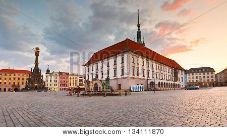 OLOMOUC, CZECH REPUBLIC - JUNE 05, 2016: Town hall in the main square of the old town of Olomouc, Czech Republic on June 05, 2016.