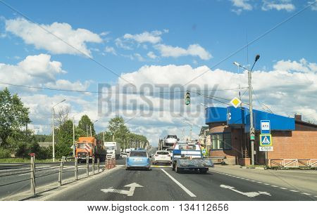 Vladimir Russia-June 10 2016: Moving the cars on superhighways M-7 for June 10 2016 connecting city Vladimir and Lower Novgorod in Russia