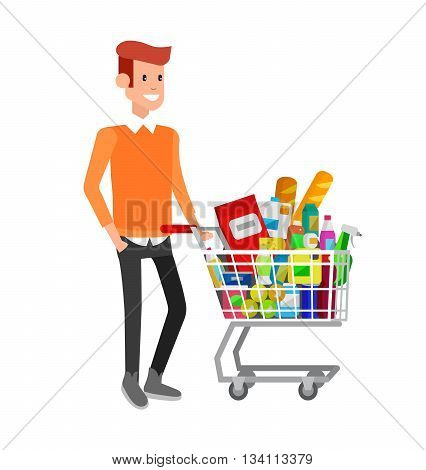Concept illustration for Shop, supermarket. Vector character man with supermarket cart. Healthy eating and eco food in supermarket. Vector flat illustration for supermarket.