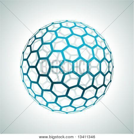 Abstract hexagonal 3d sphere vector background