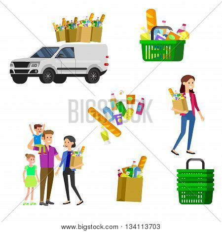 Concept banner for Shop, supermarket. Vector character people in supermarket, cart, delivery, family shopping. Healthy eating and eco food in supermarket. Vector flat illustration for supermarket.