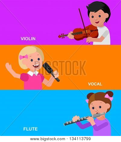 Cute vector character child. Happy kid singing, playing flute, violin. Education and child development. Banner for kindergarten, children club or school of Arts
