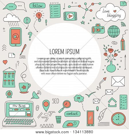 Vector card template with blogging and social media hand drawn elements. Doodle background with place for text. For banners and posters, cards, brochures, souvenirs, invitations designs.