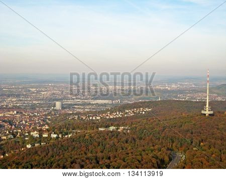 Stuttgart Germany - October 19 2008: View over city of Stuttgart - famous buildings from left to right - Gaskessel Neckarstadion / Mercedes-Benz-Arena Funkturm
