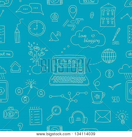 Vector seamless pattern with blogging and social media hand drawn elements. Clean elegant doodle background. For wallpaper, surface textures, scrapbooking, fabric prints, website designs.