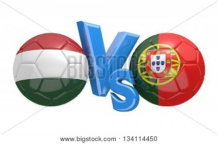 Football competition between national teams Hungary vs Portugal, 3D rendering